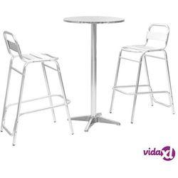 Vidaxl meble barowe z okrągłym stolikiem, 3 szt., srebrne, aluminium