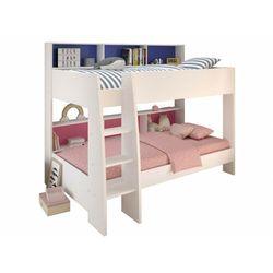 Łóżko piętrowe lenny – 2 x 90 × 200 cm – półki – dwustronne tło różowe lub niebieskie marki Vente-unique