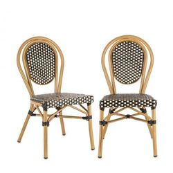 Blumfeldt montpellier bl krzesło możliwość ułożenia jedno na drugim rama aluminiowa czarno-kremowy