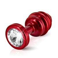 Diogol Plug analny zdobiony -  ano butt plug ribbed red 25 mm czerwony