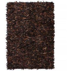Vidaxl Dywan shaggy, skóra naturalna, 80 x 160 cm, brązowy