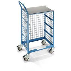 Przemysłowy wózek serwisowy, z górną powierzchnią ładunkową, z bocznymi kratami.
