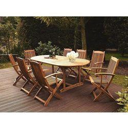 Stół ogrodowy drewniany jasnobrązowy 160/220 x 100 cm rozkładany maui marki Beliani