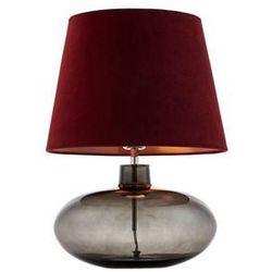 Kaspa - lampa stojąca sawa velvet - dymna, abażur bordowy - bordowy