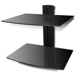 vidaXL Ścienna, szklana półka na płyty DVD, 2 poziomy, czarna (półka RTV)