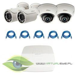 "Zestawy do Monitoringu ""Dahua 2MP PoE"". 2 x Kamera IPC-HFW1220S, 2 x Kamera DH-IPC-HDBW2221R-Z, Rejestrator DAHUA DHI-NVR1104, skrętka, Switch TP-LINK TL-SG108E"