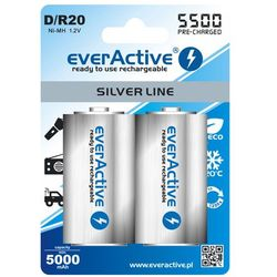 2x akumulatorki everActive R20/D Ni-MH 5500 mAh ready to use - produkt z kategorii- Akumulatorki