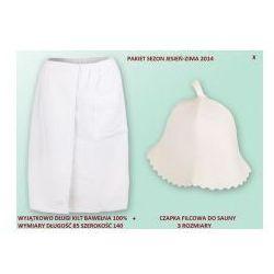 Kilt Ręcznik 85*140cm 100% Bawełna + Czapka biała do sauny X