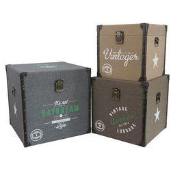 Vente-unique Zestaw 3 kwadratowych wzorzystych kufrów vintage elaine - kolor beżowy, brązowy i szary - dł. 47.5 / 41 / 35 cm