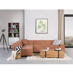 Sofa koniakowa - Narożnik skórzana - ADAM P - produkt dostępny w Beliani
