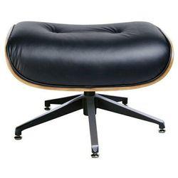 Podnóżek lounge czarny, sklejka jesion - skóra naturalna marki King home