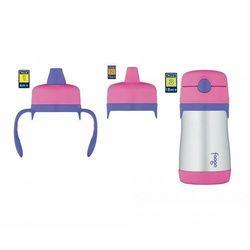 Termosik niemowlęcy Foogo z dodatkowymi ustnikami 290 ml (różowy-stalowy)
