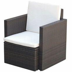 Elior Brązowy polirattanowy fotel ogrodowy - leslie