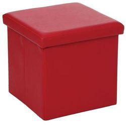 Pufa ze sztucznej skóry, pufa 2 w 1 ze schowkiem, podnóżek - kolor czerwony (3560239422181)