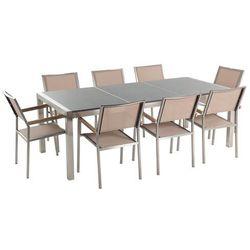 Meble ogrodowe - stół granitowy 220 cm szary polerowany z 8 beżowymi krzesłami - GROSSETO (7081458745234)