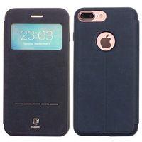 Baseus - Apple iPhone 7 Plus - etui na telefon Baseus Simple Series Leather Case - niebieskie, kolor niebieski