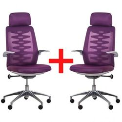 Krzesło biurowe z siatkowym oparciem SITTA GREY, 1+1 GRATIS, fioletowy