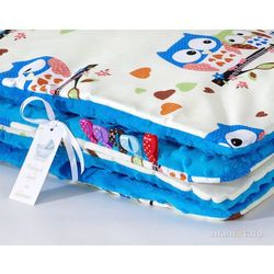 komplet kocyk minky do wózka + poduszka sówki kremowe d / niebieski marki Mamo-tato