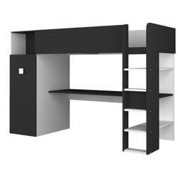 Łóżko na antresoli tobie - wbudowana szafa i biurko - 90x200 cm -kolor biały i antracytowy marki Vente-unique