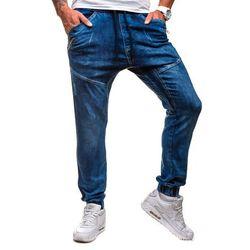 Granatowe spodnie jeansowe joggery męskie Denley 0425K - GRANATOWY, kolor niebieski