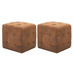 Komplet brązowych tapicerowanych puf - zauri 3x marki Elior