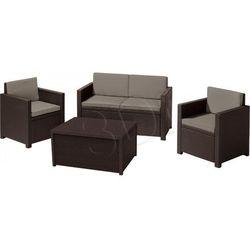 Meble ogrodowe Curver Allibert Monaco Zestaw: Stół, Sofa, dwa Fotele brązowy - szaro-beżowy (8711245128207)