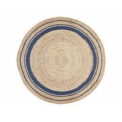 Okrągły dywan bhopal - 100% juty - śred. 150 cm - kolor naturalny i niebieski marki Vente-unique