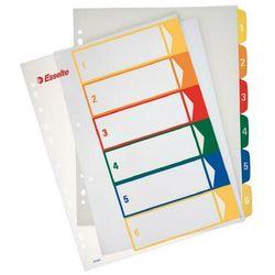 Przekładki ESSELTE plastikowe z PP do nadruku 1-6 A4 numeryczne kolorowe, 100212