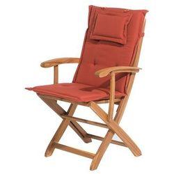 Beliani Krzesło ogrodowe drewniane poducha ceglasta maui (4260586357585)