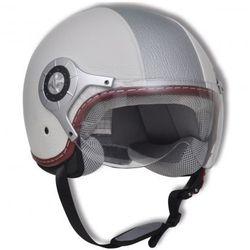 Skórzamy kask na skuter, L, biało-srebrny (kask motocyklowy)
