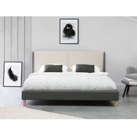 Łóżko szaro-beżowe - 160x200 cm - łóżko tapicerowane - VALENCE