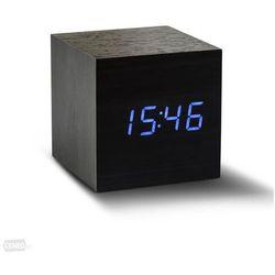 Zegar stołowy, budzik Cube Black Click Clock / Blue LED by Gingko, GK08B10