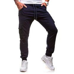 Spodnie męskie joggery  0404GBR granatowe - GRANATOWY, ATHLETIC