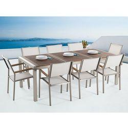 Meble ogrodowe - stół ze stali nierdzewnej 220 cm z drewnianym blatem z 8 białymi krzesłami - grosseto marki Beliani