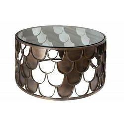 INVICTA stolik kawowy ABSTRACT 70 antik - rybia łuska, szkło, metal