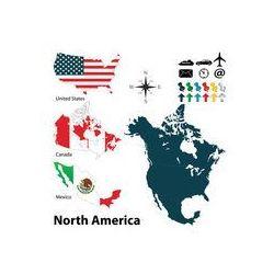 Foto naklejka samoprzylepna 100 x 100 cm - Mapa polityczna Ameryki Północnej, fotako z FOTAKO