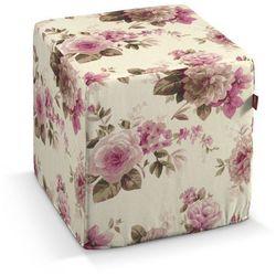 Dekoria Pufa kostka, różowo-beżowe róże na kremowym tle, 40 × 40 × 40 cm, Mirella, kolor różowy