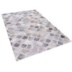 Beliani Dywan szary 140 x 200 cm skórzany agacli