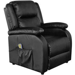 fotel masujący z eko-skóry, elektryczny, regulowany, czarny marki Vidaxl