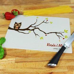Miłosna sowa - deska do krojenia - deska średnia 25 na 20 cm marki Mygiftdna