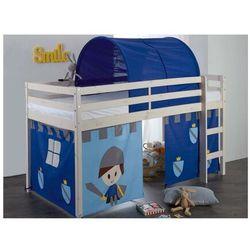 Półwysokie łóżko LILIO - 90x190 cm - Lita sosna - Zasłony z rycerzami i niebieski tunel