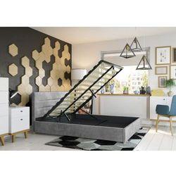 Łóżko 140x200 tapicerowane monza + pojemnik szare welur marki Big meble