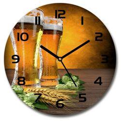 Zegar szklany okrągły Dwie szklanki piwa