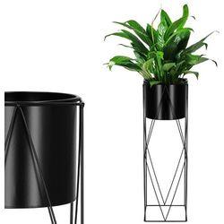 Springos Stojak na kwiaty 70 cm z doniczką nowoczesny kwietnik loft czarny mat