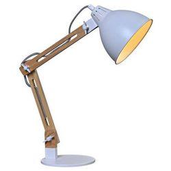 Stojąca LAMPKA biurkowa CGSIMP1B WH MDECO nocna LAMPA sypialniana w stylu skandynawskim drewno biała, CGSIMP