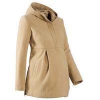 Płaszcz ciążowy z kapturem, z regulacją obwodu  beżowy marki Bonprix