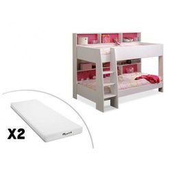 Łóżko piętrowe lenny – 2 x 90 × 200 cm – półki – dwustronne tło różowo-niebieskie + 2 materace stelo kids 90 × 200 marki Vente-unique