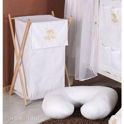 MAMO-TATO Kosz na bieliznę Miś na chmurce w bieli z kategorii kosze na pranie