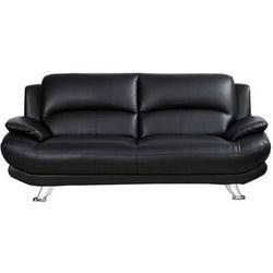 Sofa 3-osobowa z materiału skóropodobnego MUSKO - Czarny