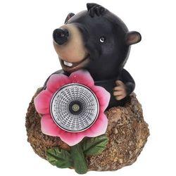 Progarden Lampa solarna kret z różowym kwiatem figurka ozdobna